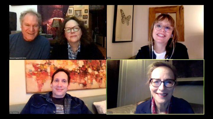 Clockwise from top left: Jay O. Sanders, Maryann Plunkett, Sally Murphy, Laila Robins, and Stephen Kunken in the livestreamed