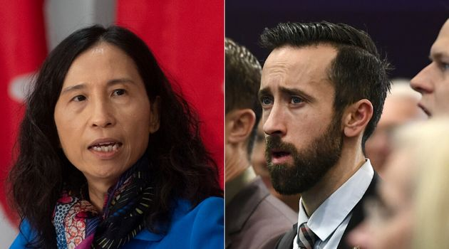 Chief Public Health Officer Theresa Tam and Tory MP Derek Sloan are shown in a composite image of photos...