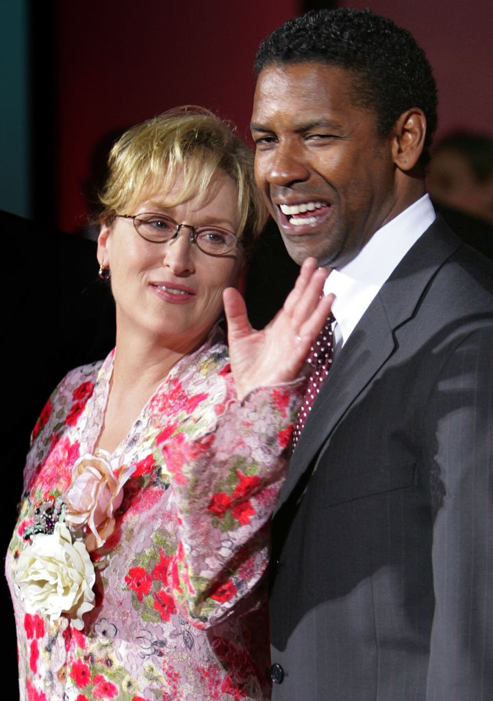"Denzel Washington and Meryl Streep, his co-star in ""The Manchurian Candidate,"" arrive at the Venice Film Festival"