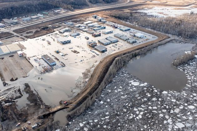 The flooded Taiga Nova Eco-Industrial Park alongside the Athabasca River at the north end of Fort McMurray...