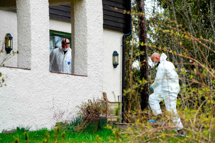 Policemen search the residence of the Hagen couple in Lorenskog near Oslo, Norway, after Anne-Elisabeth Hagen's husband, Tom