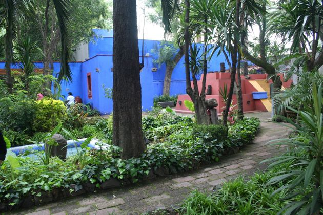 Coyoacan - Mexico City - Mexico - August 21, 2016. The gardens surrounding the house where Frida Kahlo was born, made into a museum in 1958.