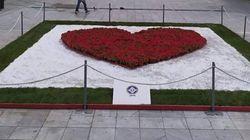 Με λουλούδια - σύμβολα η μεγάλη καρδιά στην πλατεία