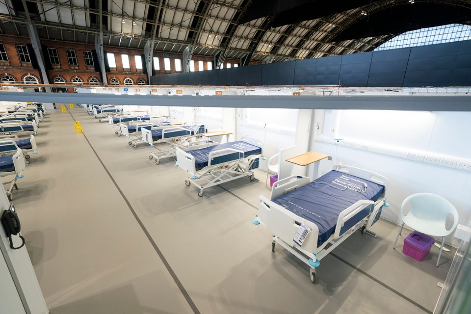 Beds on a ward at the Nightingale Hospital North West set up in the Manchester Central Convention