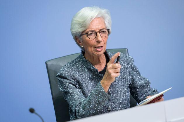 La presidenta del BCE, Christine Lagarde, en una conferencia de