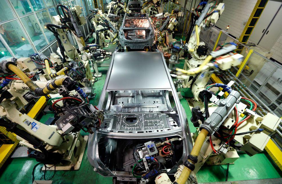 Les berlines de Hyundai Motor sont assemblées dans une usine à Asan, à environ 62 miles au sud de Séoul, en Corée du Sud.