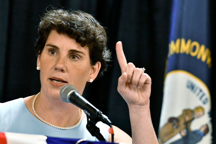 Amy McGrath, who is seeking the Democratic nomination to run against McConnell, blasted his suggestion that states should be