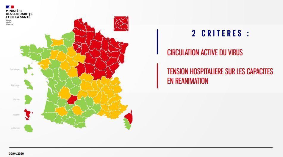 Carte du déconfinement: les départements en rouge, vert et