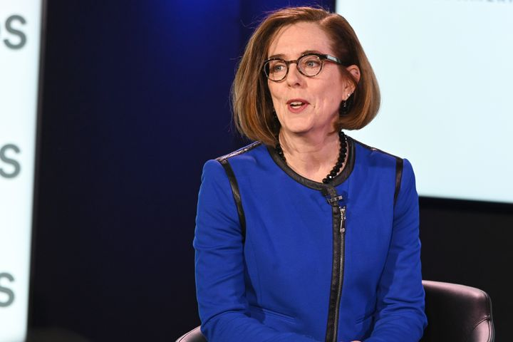 Oregon Gov. Kate Brown speaks at the Axios News Shapers event on the U.S. education system on Feb. 22, 2019, in Washington, D