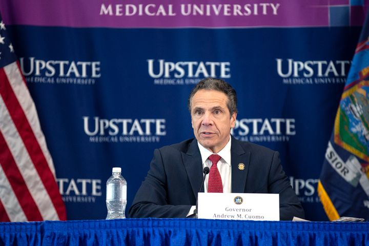 New York Gov. Andrew Cuomo speaks during his daily press briefing on Tuesday. He is attracting criticism for not expediting t