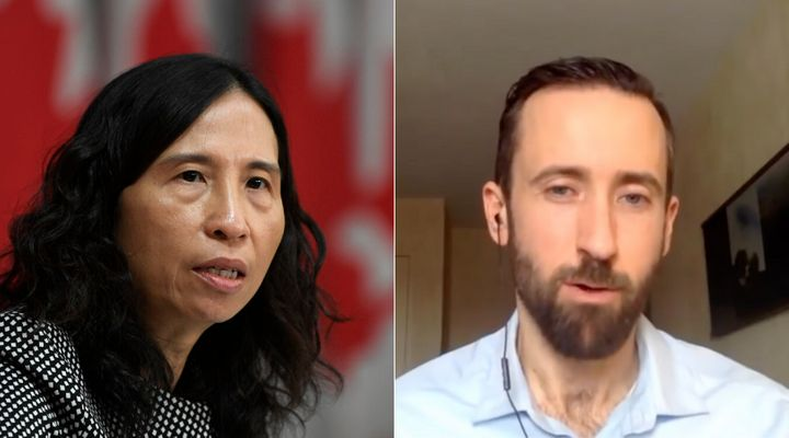 Chief Public Health Officer Theresa Tam (left) attends a press conference in Ottawa on April 29, 2020. Conservative leadership candidate Derek Sloan (right) discusses his policies in a video uploaded to Facebook on March 5, 2020.
