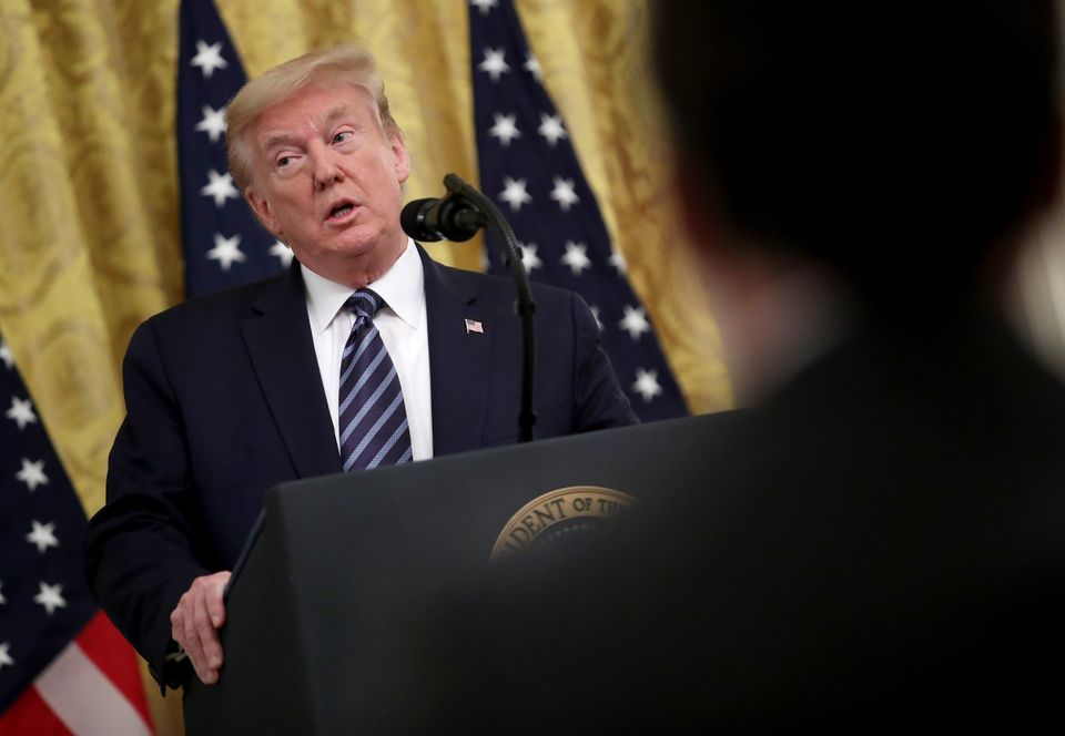 Donald Trump speaking at Thursday evening's press