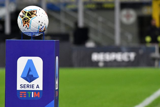 MILANO, ITALY - 2019/10/06: An official Nike Serie A ball over a pedestal with Serie A league Logo is...