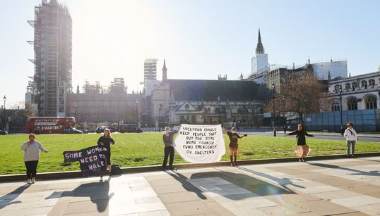 This Is What A Socially Distanced Protest Against Domestic Violence Looks