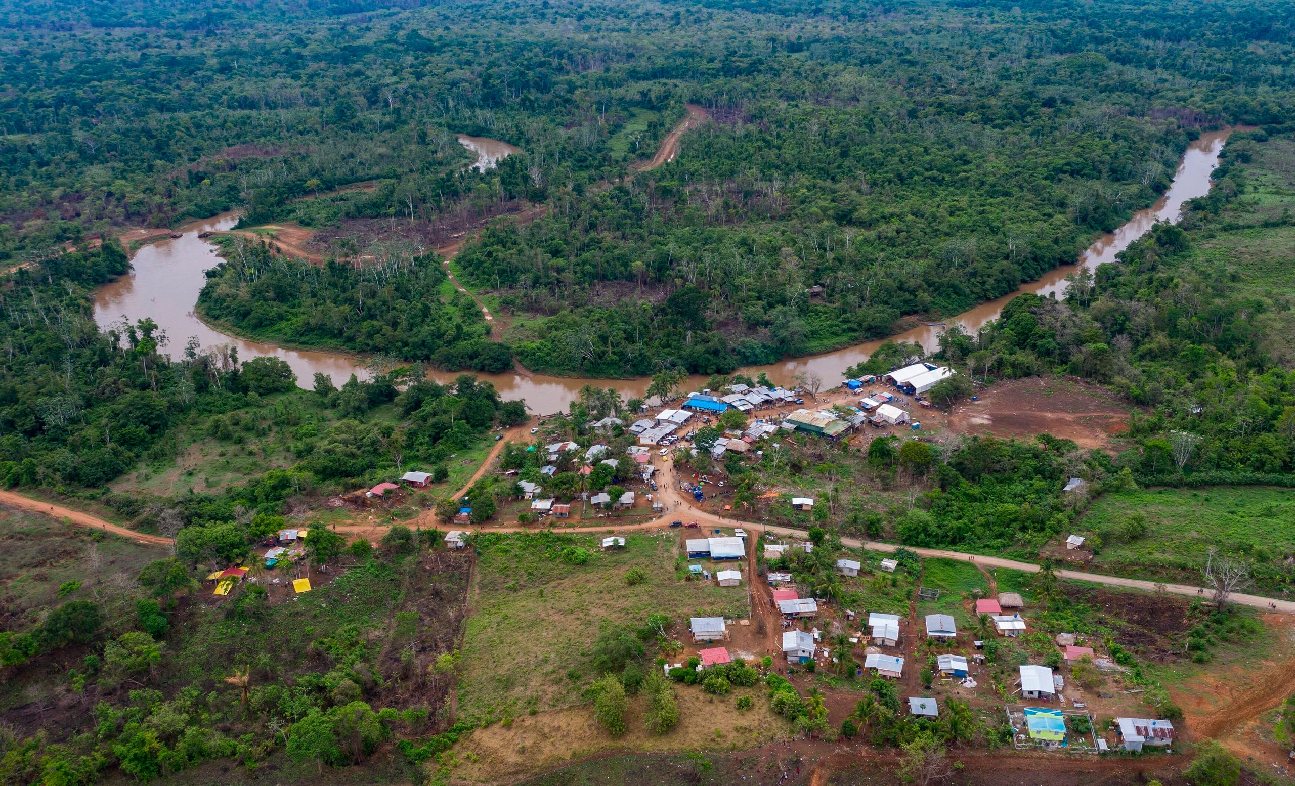 Aerial view of the La Penita indigenous village in Panama. Migrants cross the border between Colombia and Panama through the