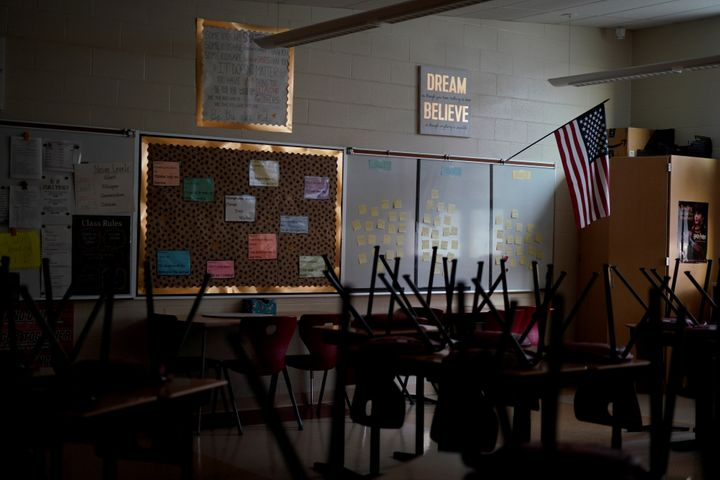 A classroom sits empty ahead of the statewide school closures in Ohio, inside Milton-Union Exempted Village School District i