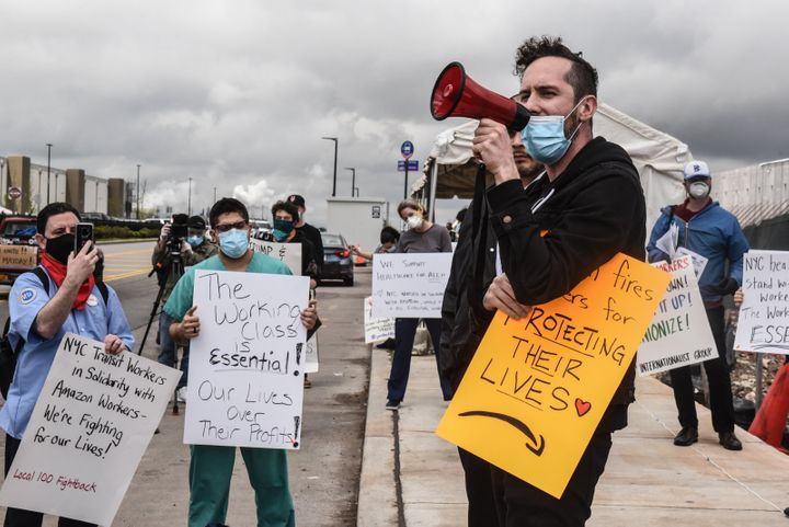 Protesters concerned about Amazon's handling of the coronavirus are demanding more safety precautions for workers during the