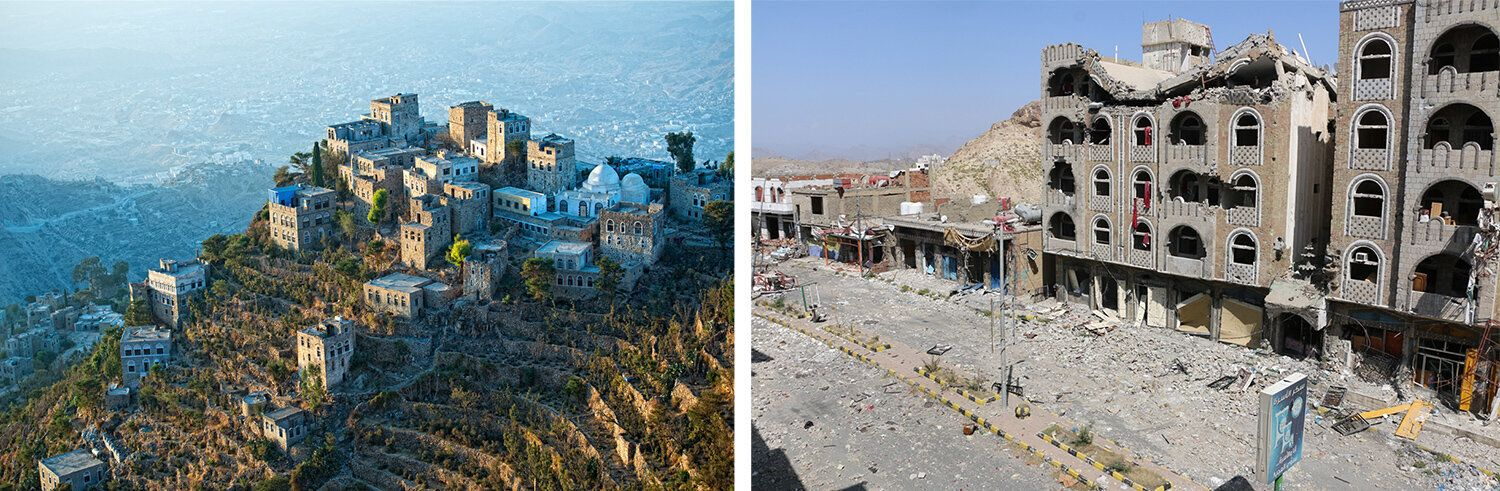 Left: Taiz before 2015. Right: Buildings in Taiz demolished after bombings in 2015.