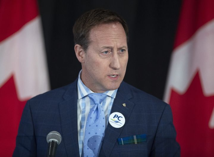 Peter MacKay addresses the crowd at a federal Conservative leadership forum during the annual general meeting of the Nova Scotia Progressive Conservative party in Halifax on Feb. 8, 2020.