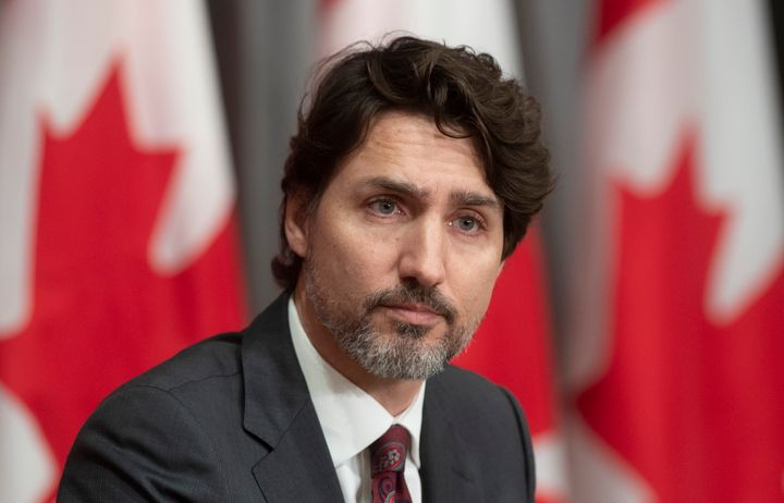 Prime Minister Justin Trudeau is seen during an announcement on a ban on military-style assault weapons during a news conference in Ottawa on May 1, 2020.