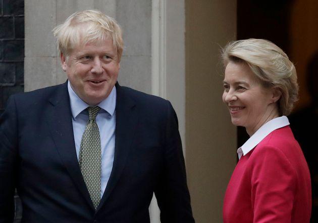 Boris Johnson and European Commission president Ursula Von Der