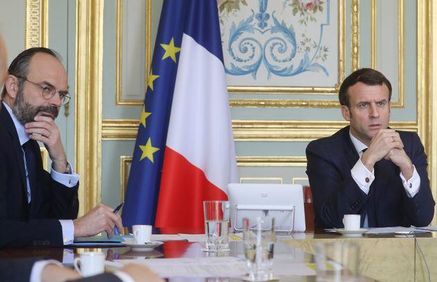 Edouard Philippe et Emmanuel Macron en vidéoconférence à l'Elysée le 19 mars