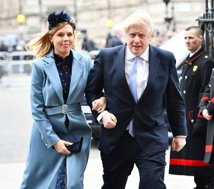 Boris Johnson and Carrie Symonds on March 9, 2020 at Westminster Abbey.