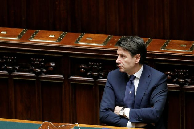 Italian Prime Minister Giuseppe Conte attends a session of the lower house of parliament on the coronavirus...