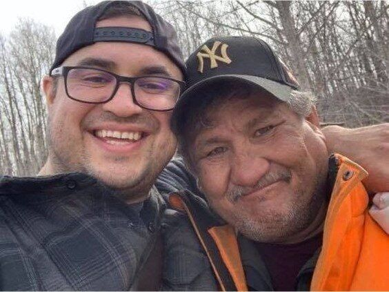 Jake Sansom, left, and his uncle, Morris Cardinal, were found dead on a rural road in eastern Alberta.