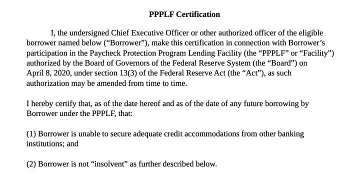 Part of the statement required by applicants in the Paycheck Protection Program.