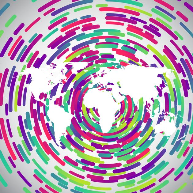 Abstract world map with colorful circles for advertising,