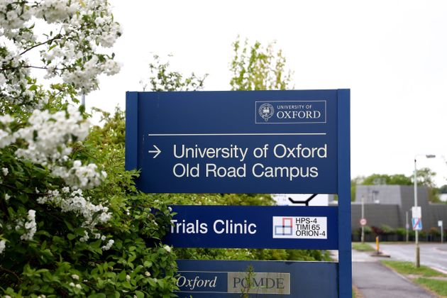 A general view of a sign outside of the University of Oxford Old Road Campus, which houses the...