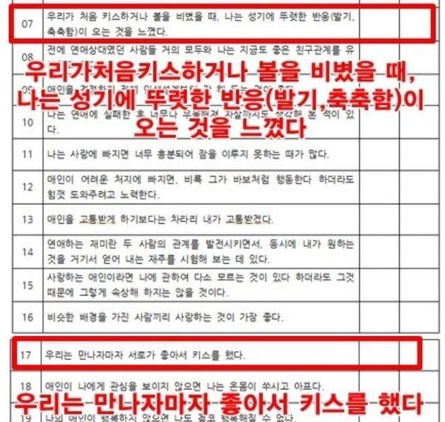 서울 동작구의 한 여자고등학교 기술가정 과목 교사가 신입생들을 대상으로 설문조사한 내용의 문항