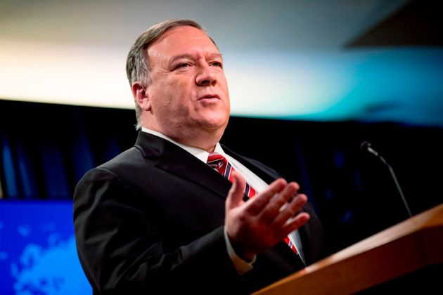 US Secretary of State Mike Pompeo speaks at a news conference at the State Department on April 29, 2020,...