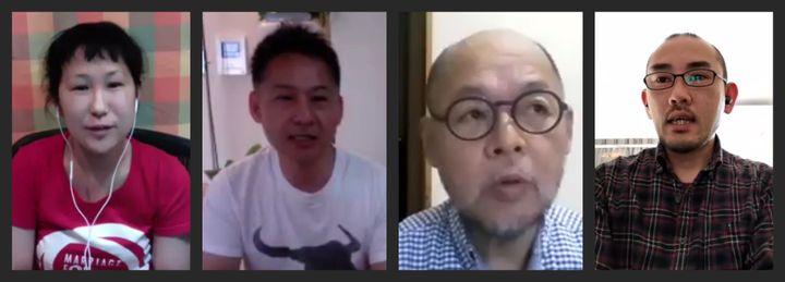 (左から)原告の小野春さん、ただしさん、佐藤郁夫さん、こうぞうさん