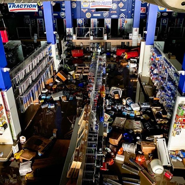 Flooding damaged the NAPA Auto Parts store in Fort