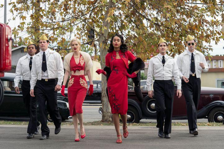 """Hollywood"" stars (from left) Jeremy Pope, Picking,Samara Weaving, Laura Harrier, Darren Criss and David Corenswet.&nbs"