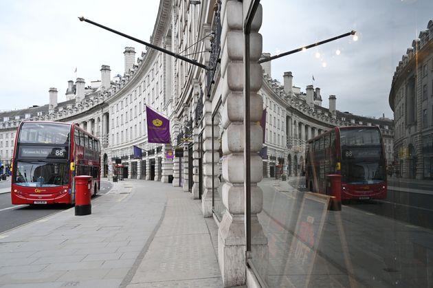 한적한 런던 도심의 모습. 2020년