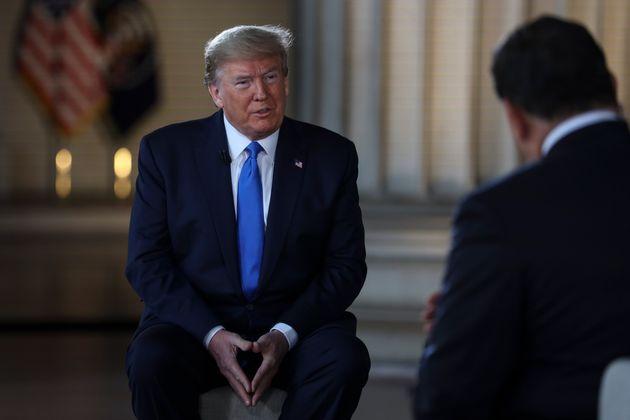 Donald Trump, durante una entrevista en el Lincoln Memorial en Washington el 3 de mayo de 2020. (Oliver...