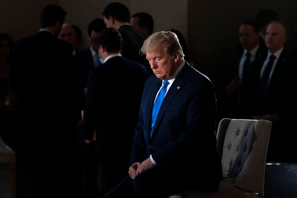 US President Donald Trump during a commercial break of a Fox News virtual town hall