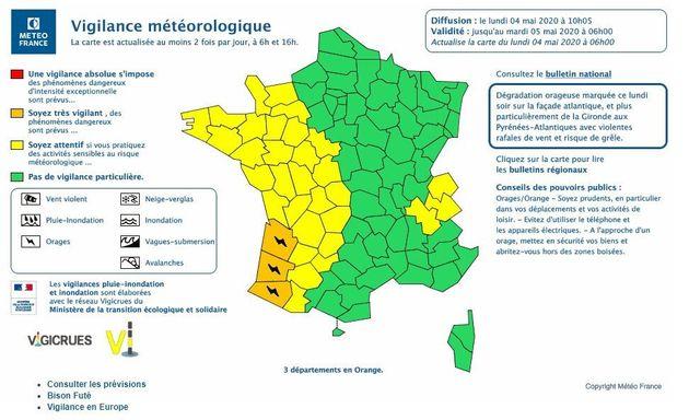 Trois départements de la Nouvelle-Aquitaine sont placés en vigilance orange en raison de risques