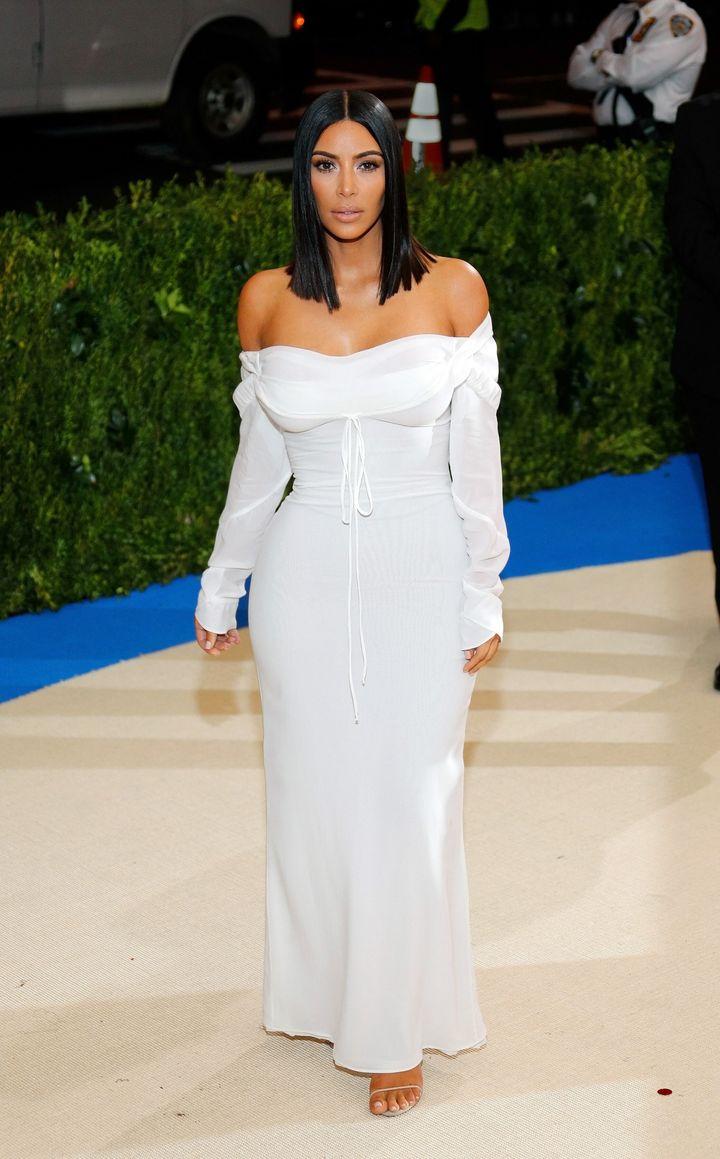 Kim Kardashian on the red carpet of the Rei Kawakubo/Comme Des Garçons:Art Of The In-Between Met Gala in 2017