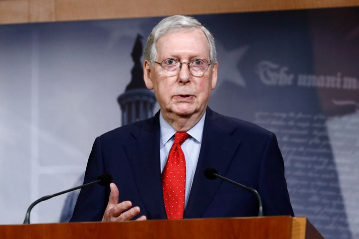 Senate Majority Leader Mitch McConnell of Ky., speaks with reporters on Tuesday, April 21, 2020, on Capitol Hill in Washingto
