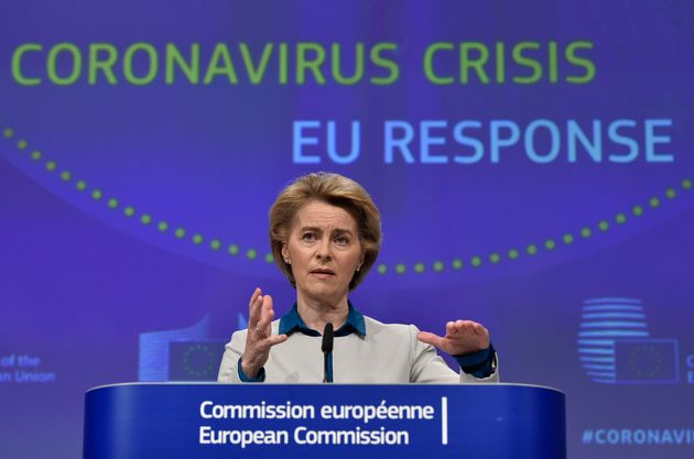 European Commission President Ursula von der Leyen, speaks during a media conference on the European...
