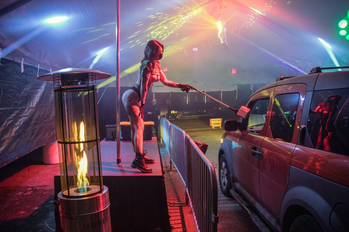 Dancers at Lucky Devil Lounge in Portland, Oregon, are now working a drive-thru club during the coronavirus lockdown.