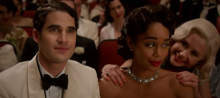 "Darren Criss (as Raymond Ainsley), Laura Harrier (as Camille Washington) and Mira Sorvino in ""Hollywood."""