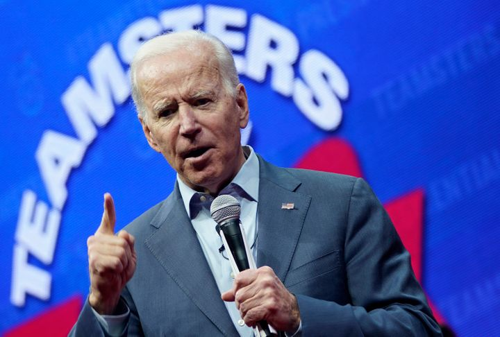 Democratic presidential candidate and former Vice President Joe Biden speaks at the Teamsters Vote 2020 Presidential Candidat