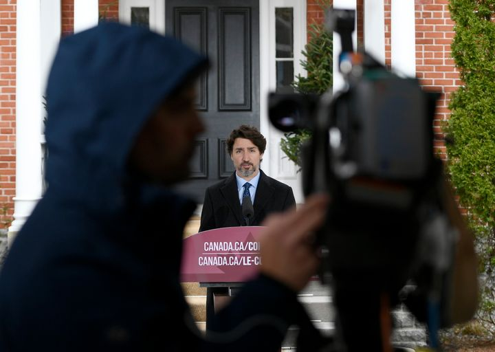 Prime Minister Justin Trudeau speaks during his daily news conference on the COVID-19 pandemic outside his residence at Rideau Cottage in Ottawa on May 4, 2020.