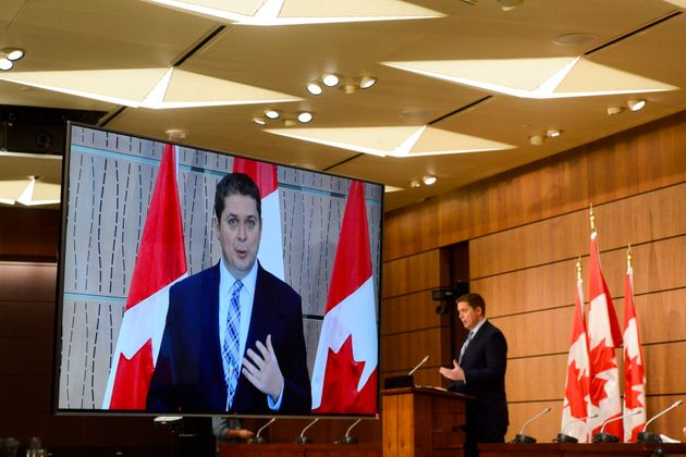 Conservative leader Andrew Scheer holds a press conference on Parliament Hill during the COVID-19 pandemic...
