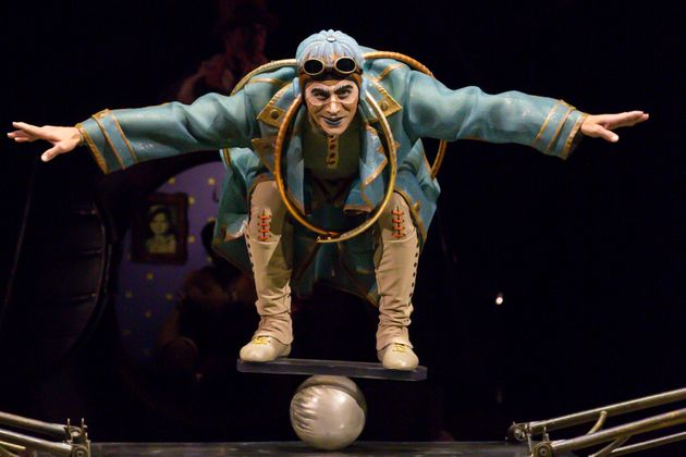 MELBOURNE, AUSTRALIA - MARCH 11: Acrobats perform during a media preview of Cirque du Soleil KURIOS on...